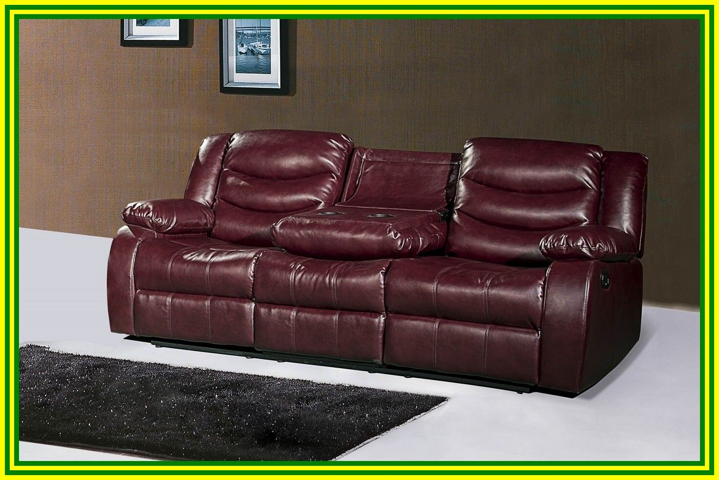 92 reference of leather sofa recliner with console in 2020