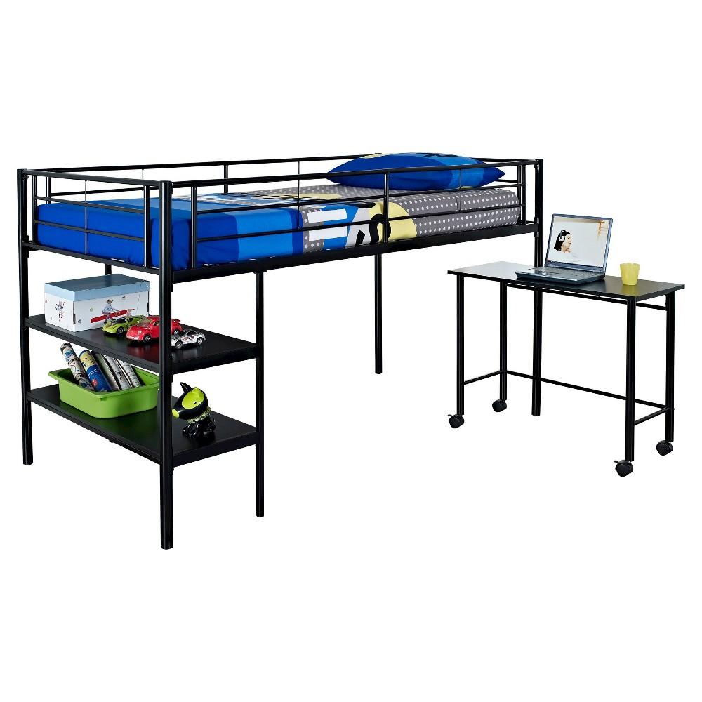 Loft bunk bed with desk  Premium Metal Twin Low Loft Bed with Desk  Black  Saracina Home