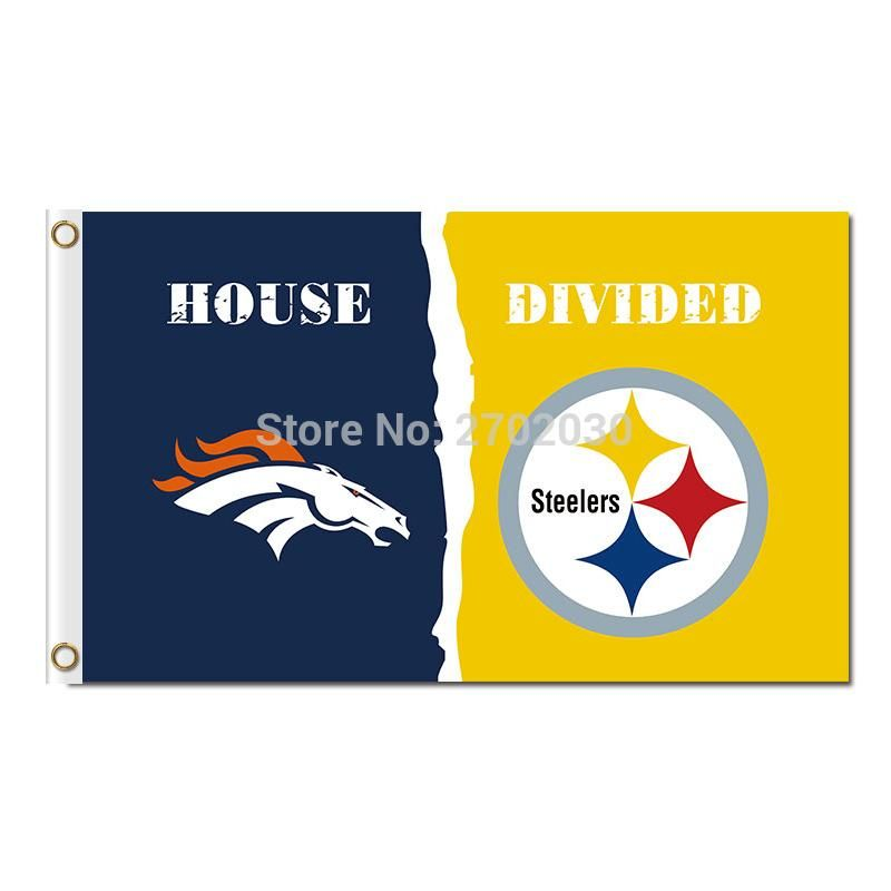 0f624e8ecc7 Denver Broncos Banner Vs Pittsburgh Steelers Flag World Series Super  Champions Fan Broncos And Steelers Banner Flag