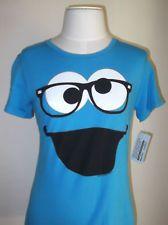 SESAME Street NERD Glasses MONSTER ELMO Womens Junior T-shirt Tee S L Blue