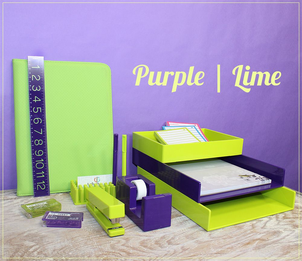 Purple And Lime Green Office Decor