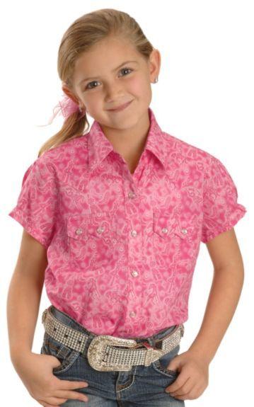 Download Girls' Wrangler Pink Horse & Cowboy Print Short Sleeve ...