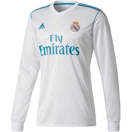 b1b62c975 Maillot Real Madrid 2017 2018 Domicile Manches Longues Officiel. Flocages  Personnalisés Disponibles.