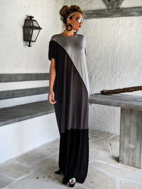 Vestido negro y gris / negro gris Kaftan / Plus por SynthiaCouture