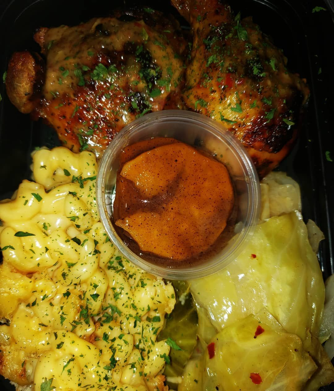 Lunch Happened Bakedchicken Sauced Cabbage Macncheese Candiedyams Andiedyams Delivered Healthy Breakfast Recipes Best Breakfast Recipes Healthy Nutrients