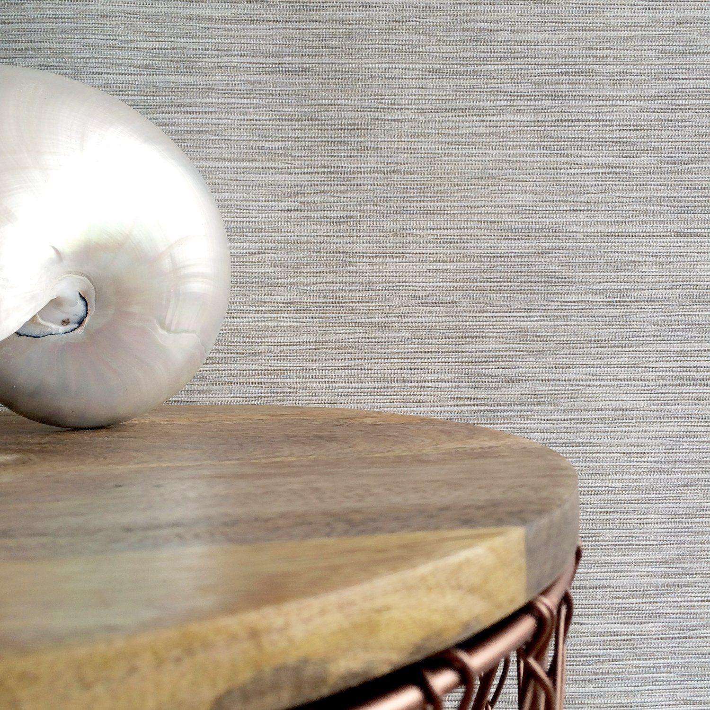 Grasscloth Effect Metallic Off White & Natural Wallpaper