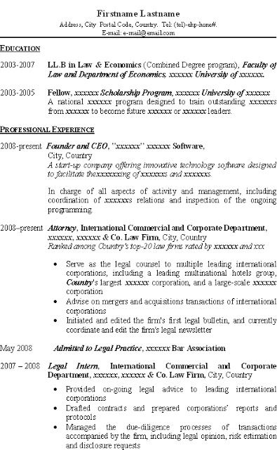 good resume for llb llm jd applicant