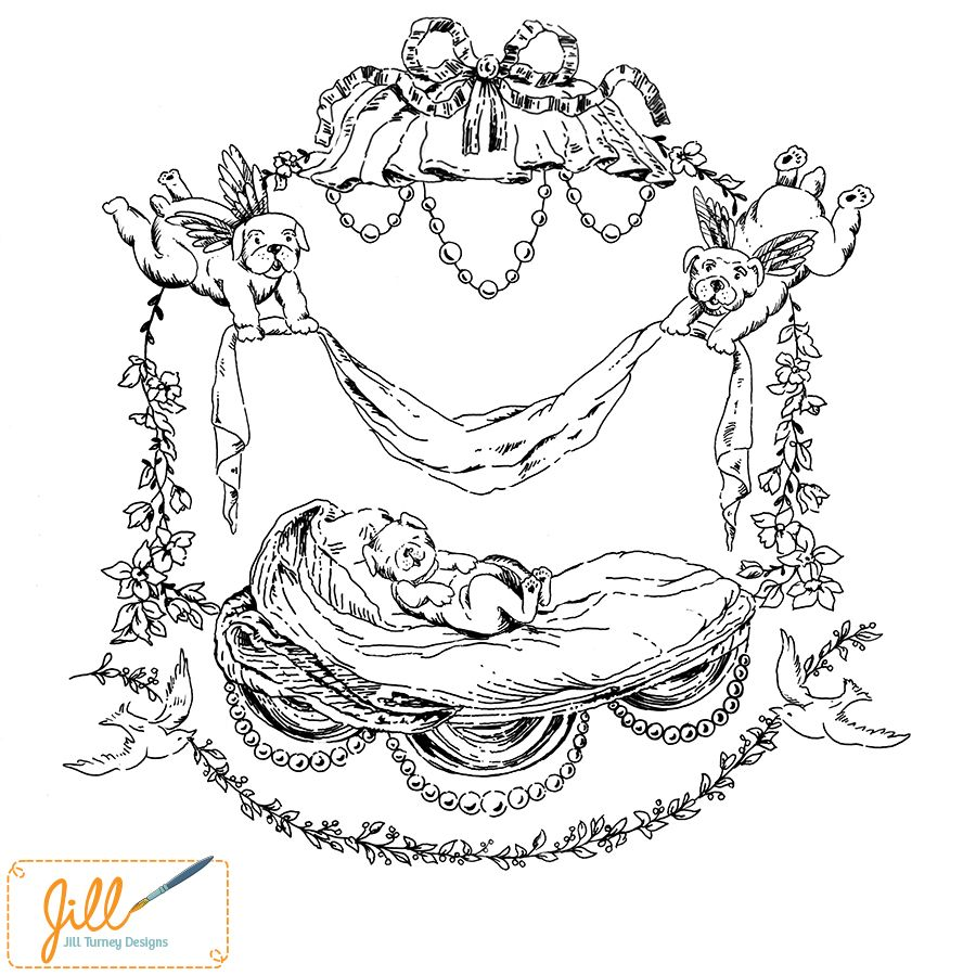 A puppy dog version of a toile de jouy created by jill turney design