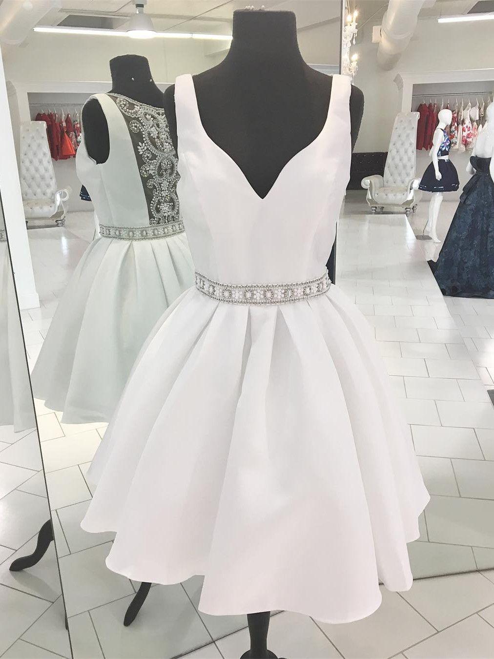 Aline vneck appliqued sleeveless beaded homecoming dresses