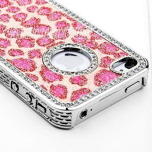 iphone 4 cases for girls pink bling glitter rhinestone leopard chrome iphone 17331