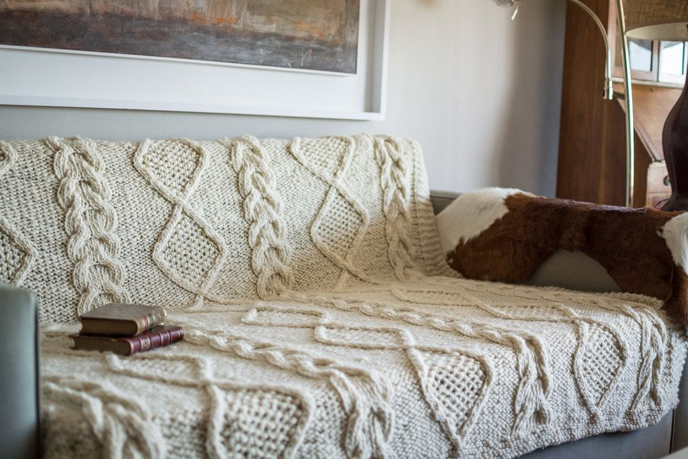 Large Knit Blanket In Merino Wool Cable Knit Blanket Cable Knit