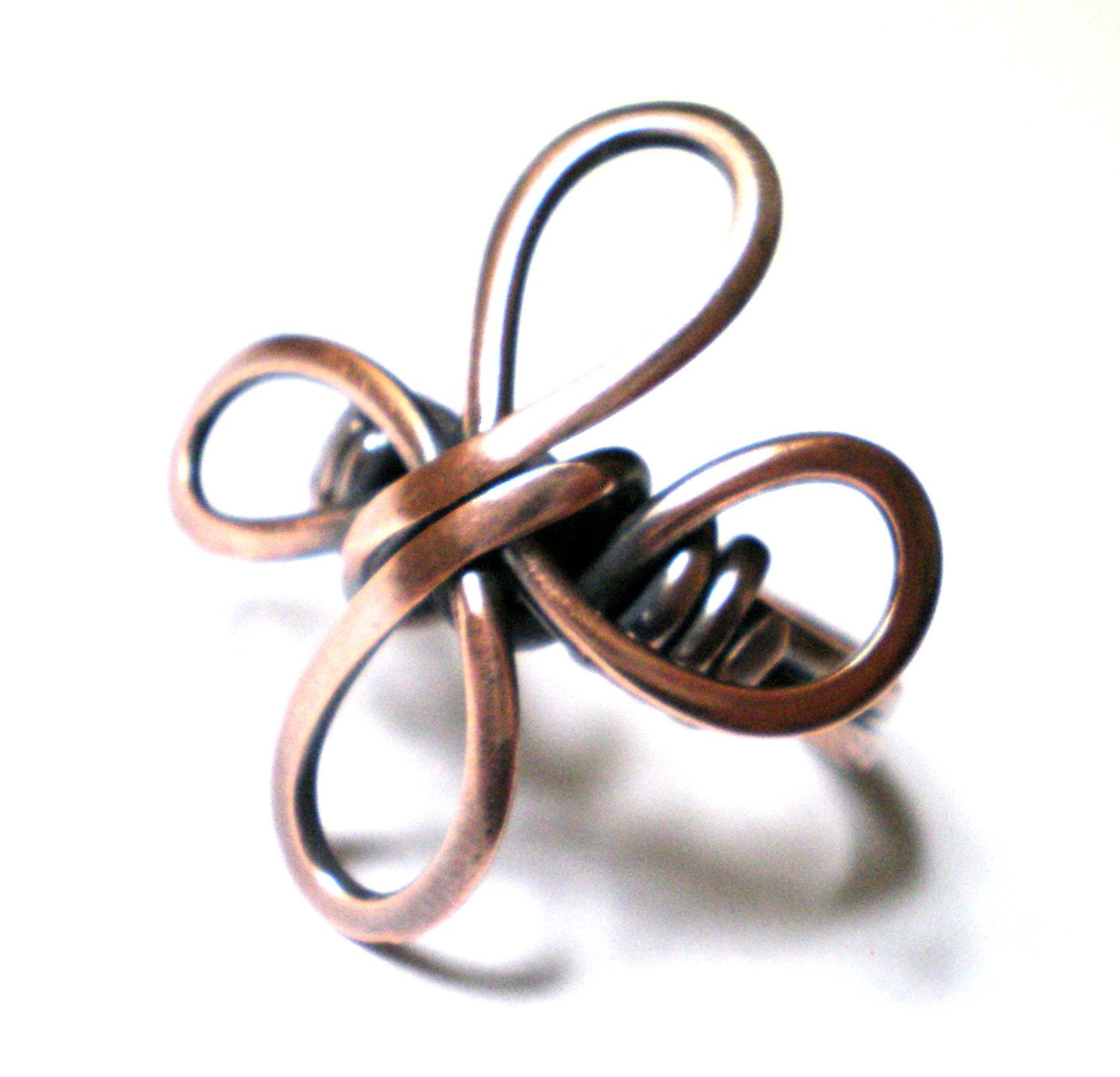 Shamrock Ring Copper Wire Wrapped Jewelry Handmade Jewelry Wire Ring ...
