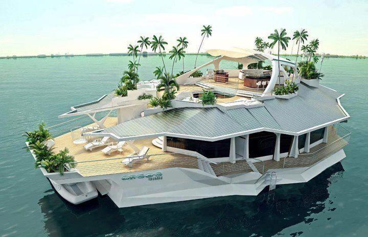 Island Boat Millionaire Homes Maison Bateau Maison Flottante