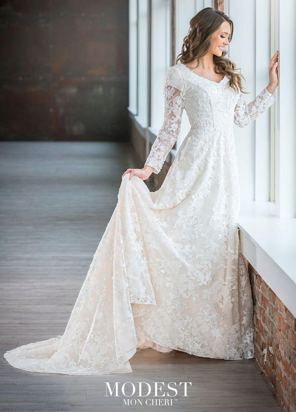 Modest Bridal By Mon Cheri Tr21909 Lace Bridal Gown In 2020 Short Bridal Dress Lace Bridal Gown Long Sleeve Bridal Dresses [ 1391 x 1000 Pixel ]