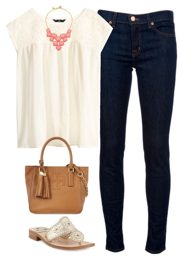 """Tory Bag"" by thevirginiaprep ❤ liked on Polyvore featuring J Brand, H&M, Tory Burch, Jack Rogers and Kate Spade"