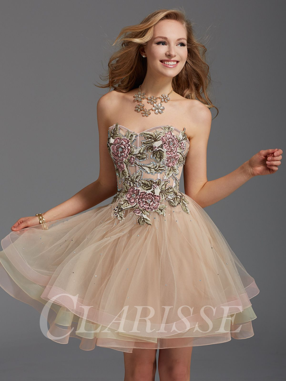 Princess homecoming dress designed by clarisse with strapless floral