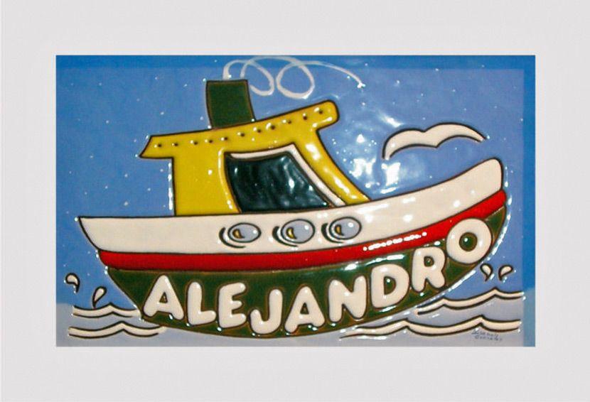 Cuadro niño con ilustración infantil de un barco con nombre de niño ...