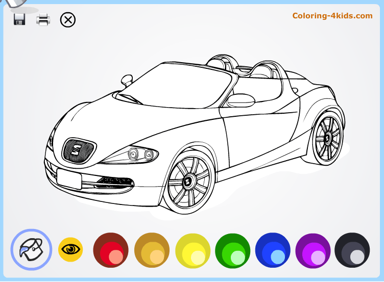 Cool cars coloring pages online for kids Seat Coloring4kidscom