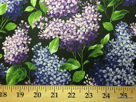 LILAC FLORAL Fabric By the Yard, Half, Fat Quarter Flowers on Black 100% Cotton Quilting Apparel Fabric s/8r,1y10L