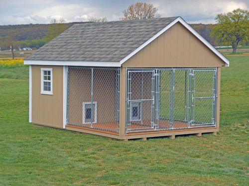 Double dog house with kennel buy outdoor dog kennels for Amish dog kennels for sale