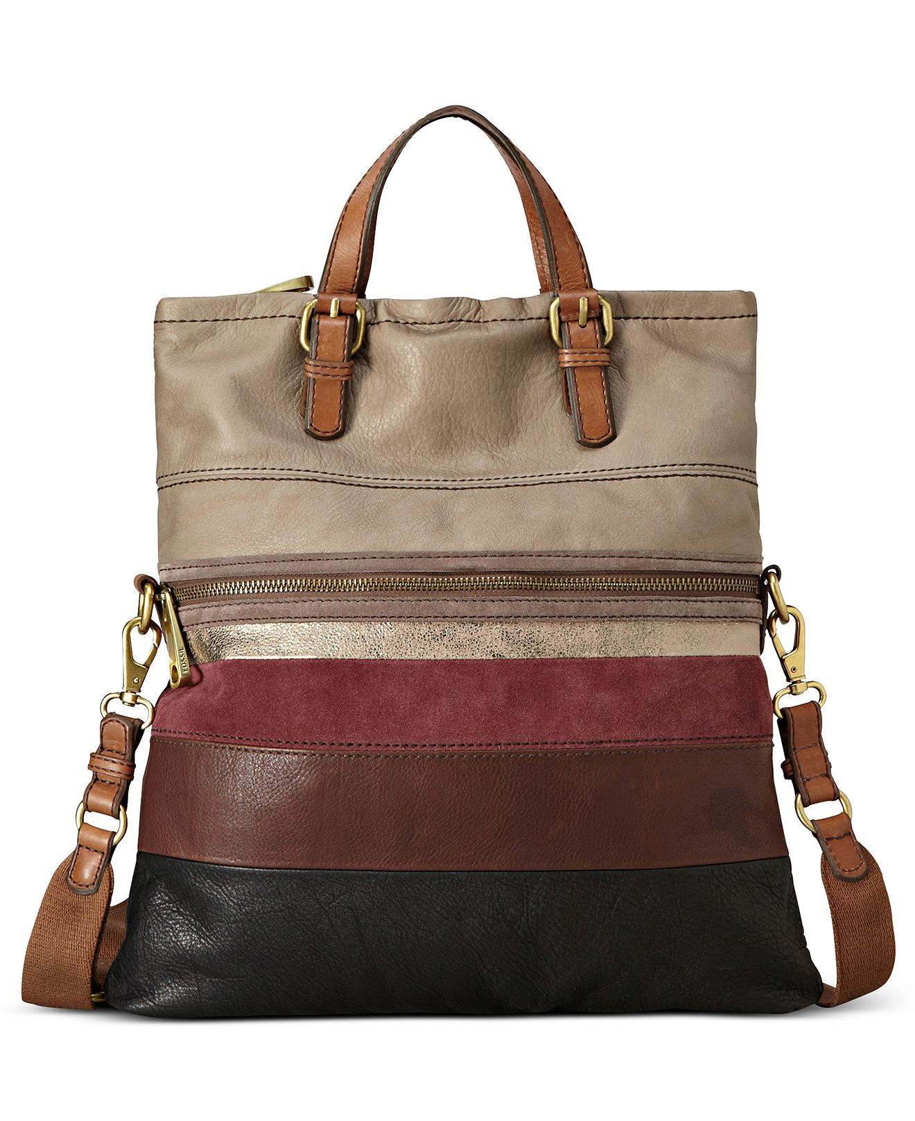 Fossil Explorer Stripe Leather Tote - Fossil - Handbags & Accessories -  Macy's