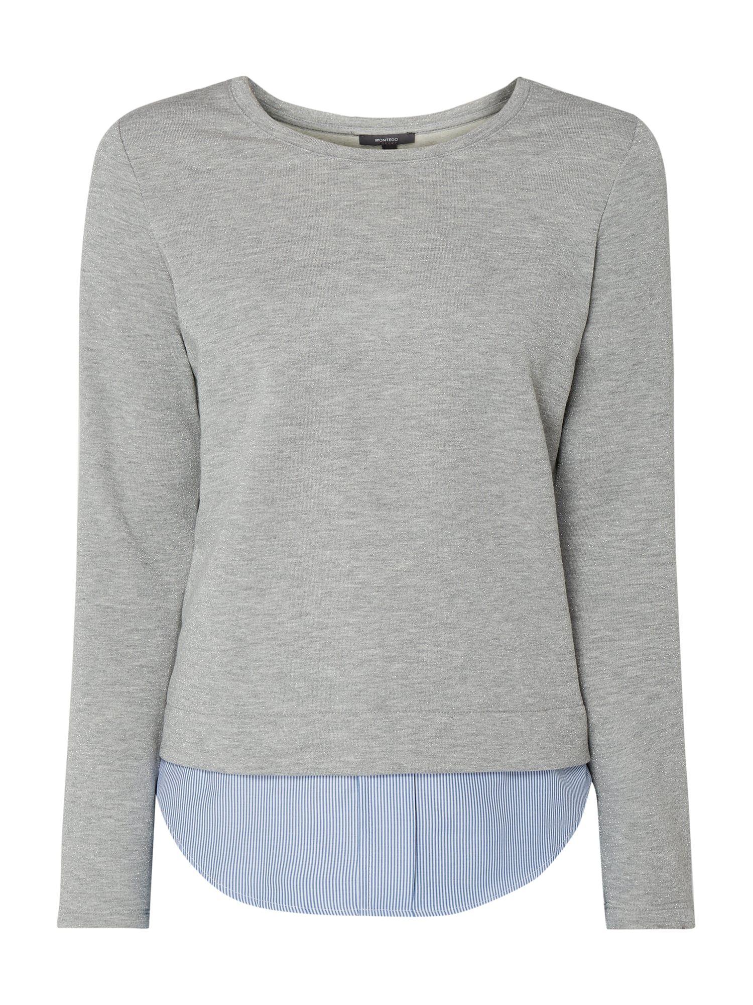 Montego – Sweatshirt mit Kontrastbesatz am Saum – Silber