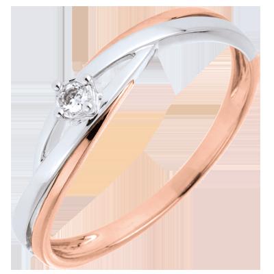 Anello Di Fidanzamento Oro Bianco E Oro Rosa 9 Carati Diamante C749 Anelli Di Fidanzamento Oro Rosa Oro Bianco