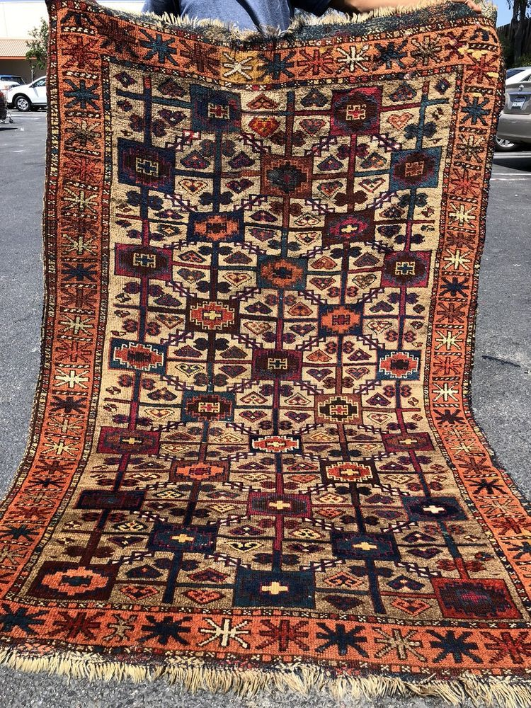 Antique Auth 19th C Antique East Anatolian Kurdish Rug Rare Collectors Beauty 4x6 Nr Please Retweet
