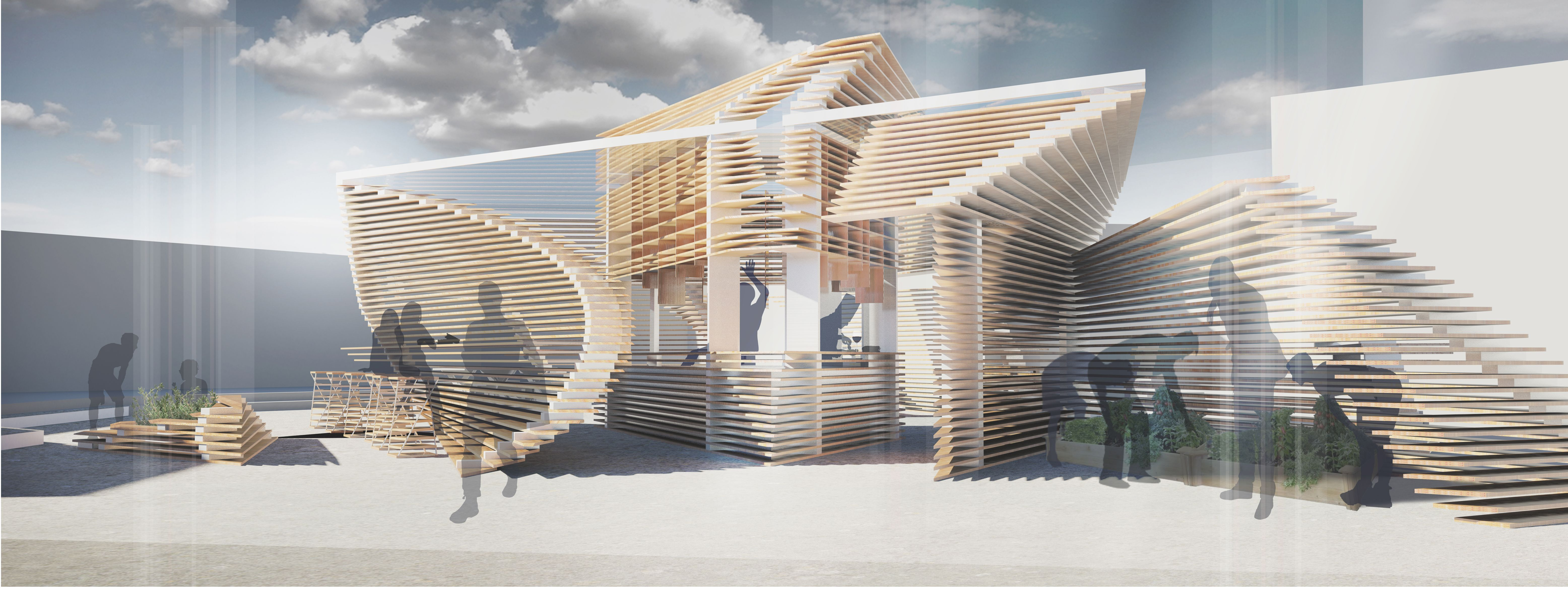 Exterior Render. Focused On Showing The Overall Look From The Staircase On  The Slope And