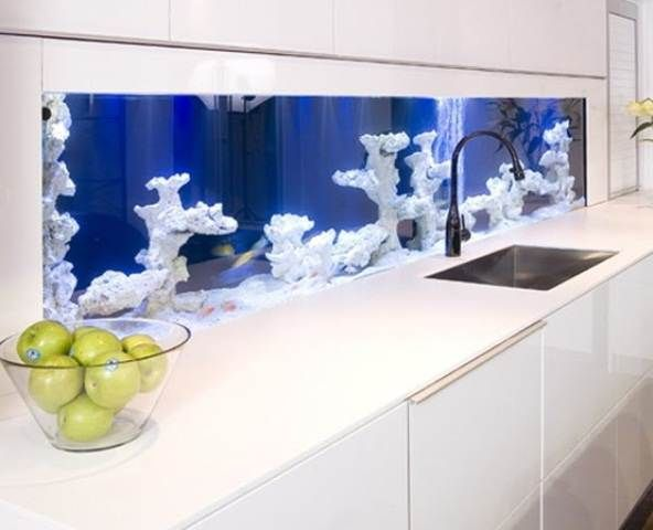 Fresh Cool Aquariums In Home Interiors Design Via Interior Unique Kitchen Backsplash House Interior Unique Interior Design