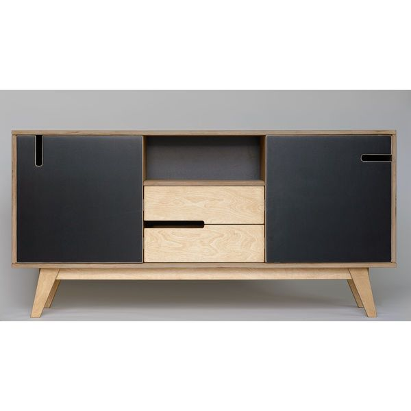 sideboard huh aus holz mit zwei schubladen zwei schr nken und einem offenen fach. Black Bedroom Furniture Sets. Home Design Ideas