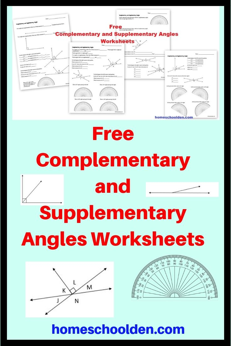 Free Complementary and Supplementary Angles Worksheets