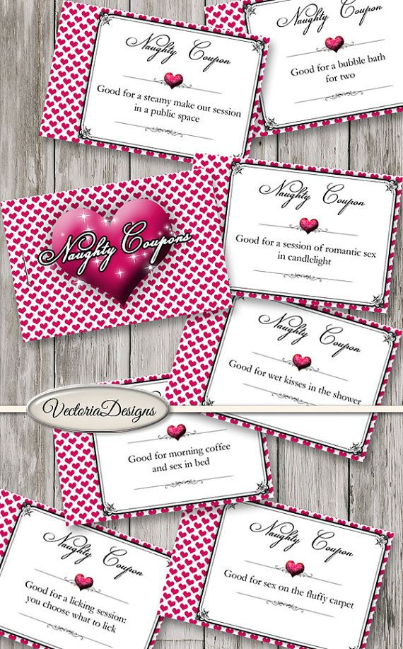 Printable Naughty Coupon Book Hearts Sex Coupons Printable Man Gift ...