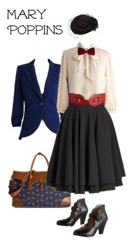Mary Poppins Costume. Easy to DIY for a last minute costume. See more at VintageDancer.com