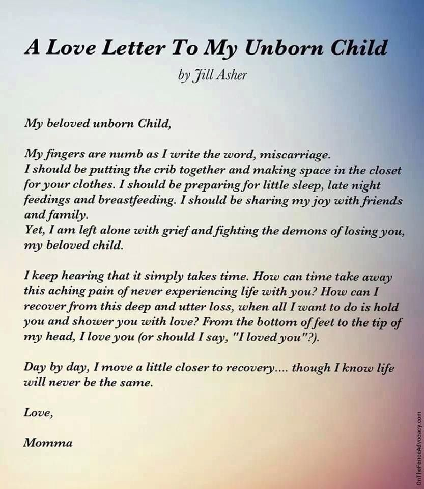 A Letter To My Unborn Child Baby J Infant Loss Baby