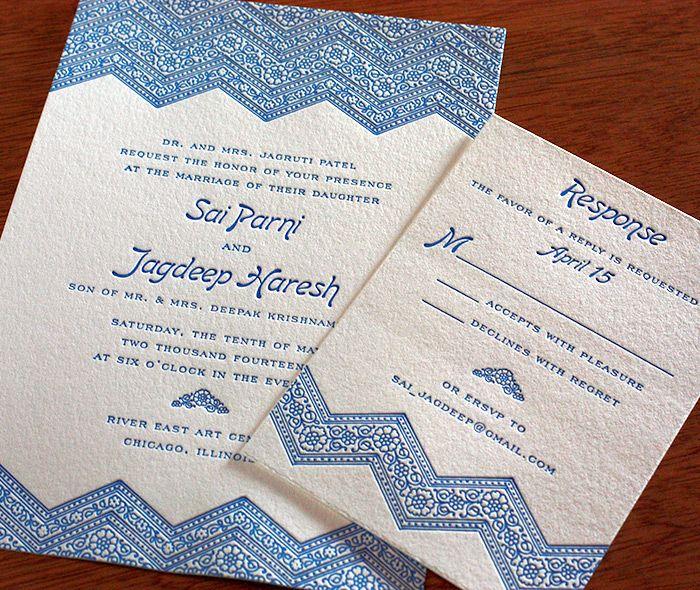 one color chevron wedding invitation