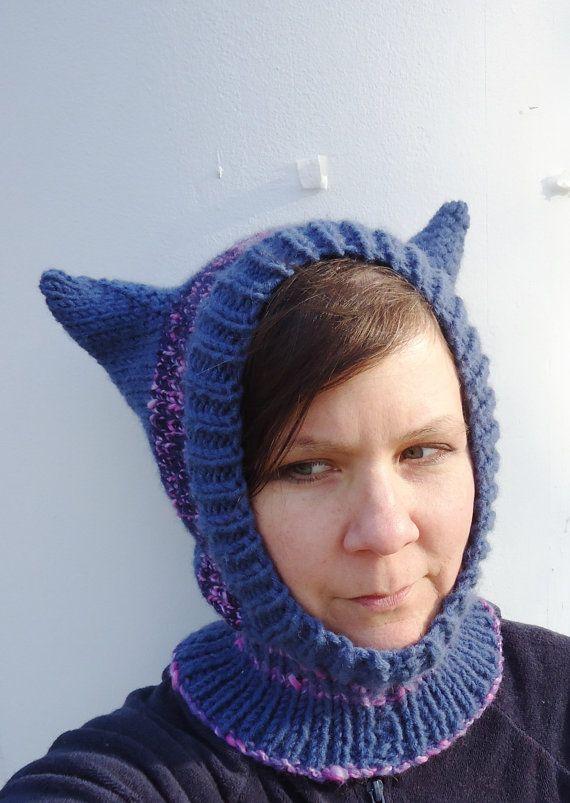 Kitty Cat Ears Hat Hand Knit Balaclava Hood Striped Blue Purple Size ...