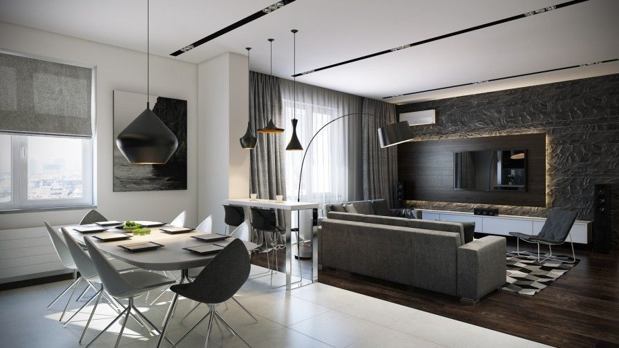 Open Plan Interior Among Modern Design Combined With Modern ...