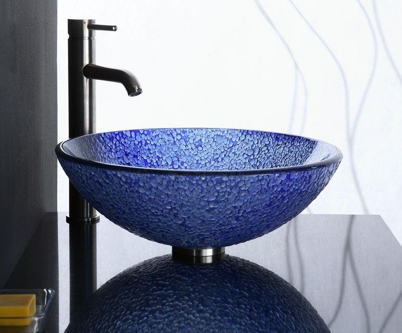 Blue Bits Glass Vessel Sink From Xylem