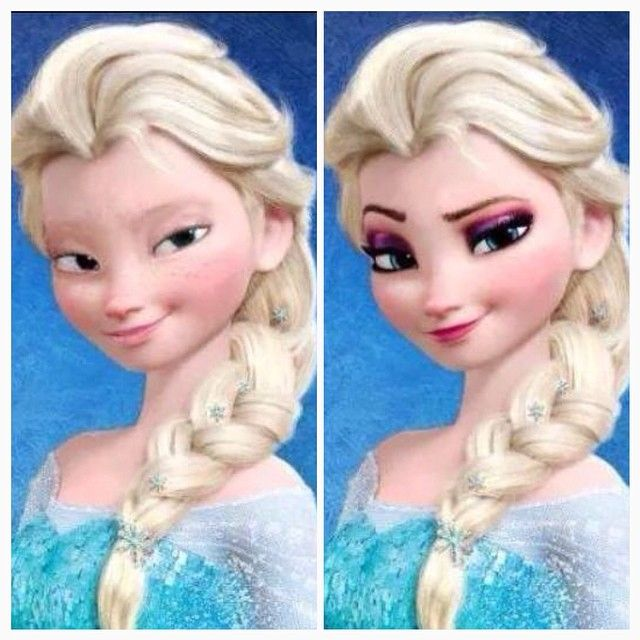 Elsa Before And After Makeup Elsa Nomakeup Transformation Disney Princesses Without Makeup Elsa Without Makeup Elsa