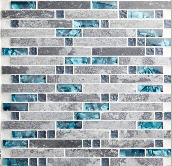 Gray Marble Backsplash Wall Tiles, Teal Blue Glass Bathroom Shower Tile, Random Interlocking Patterns Mosaic for Kitchen Accent Tiles images