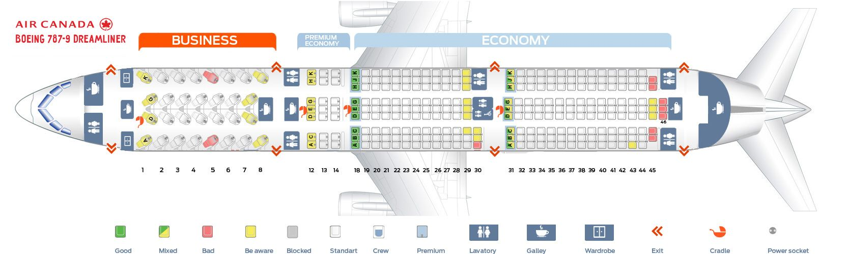Seat Map And Seating Chart Boeing 787 9 Dreamliner Air Canada Boeing Alaska Airlines Boeing Dreamliner