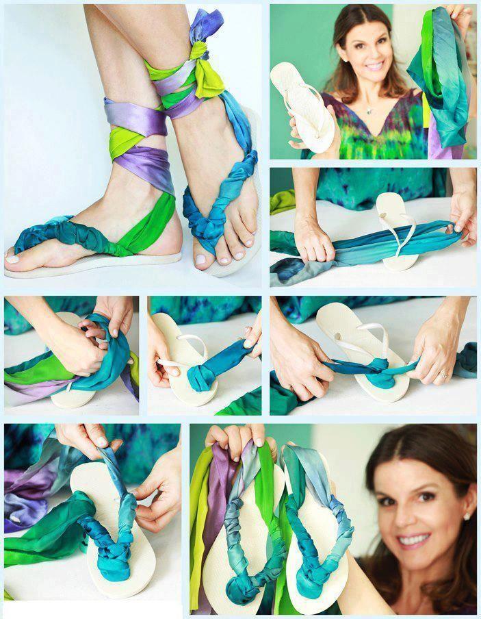 Unes sabates per s'estiu reciclant teles!