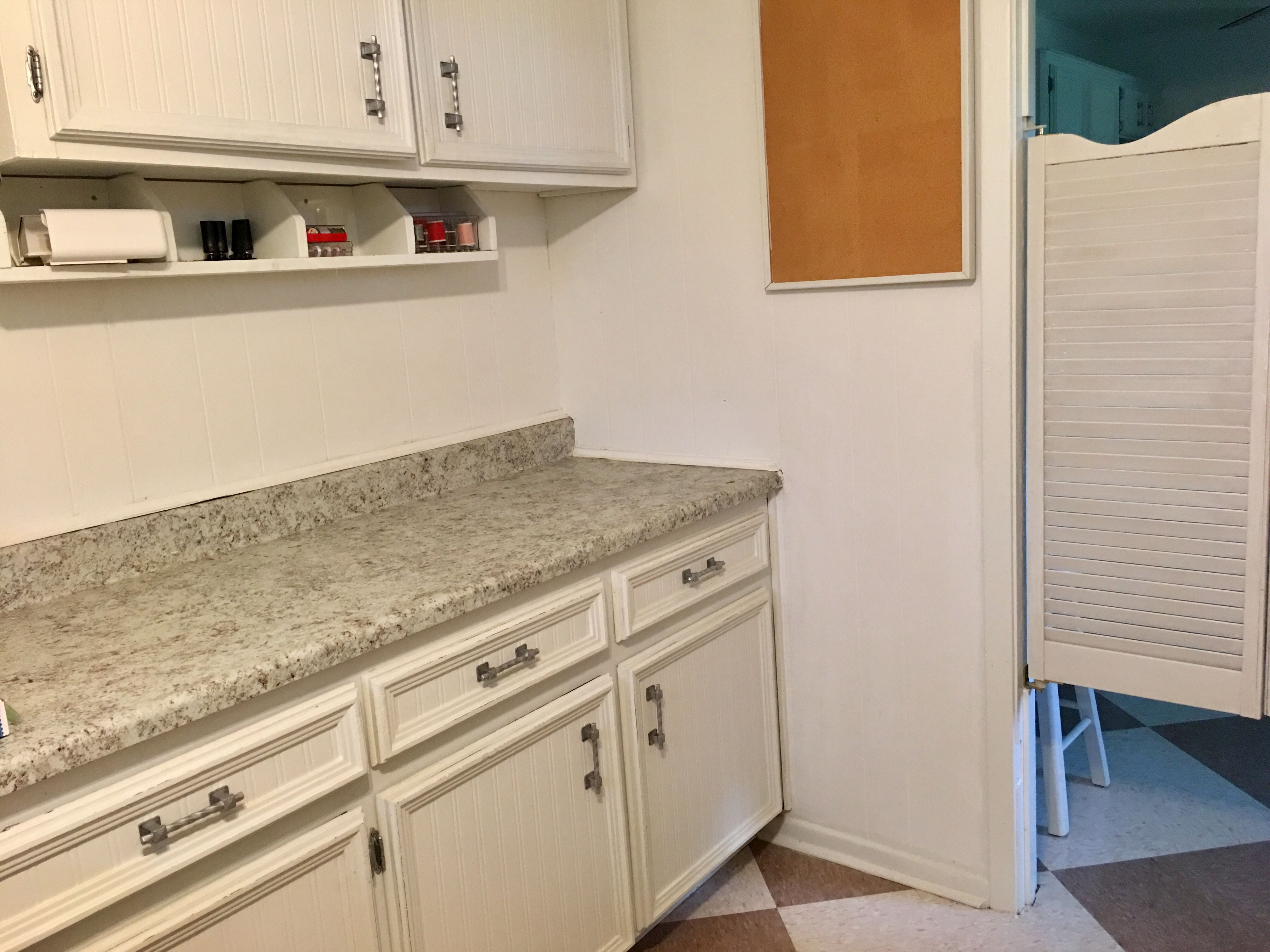 The Upper Cabinet Left Was Originally Free Hanging In Kitchen Blocking Sight Lines It Was Removed And Relocated An Cafe Door Upper Cabinets Mid Century Ranch