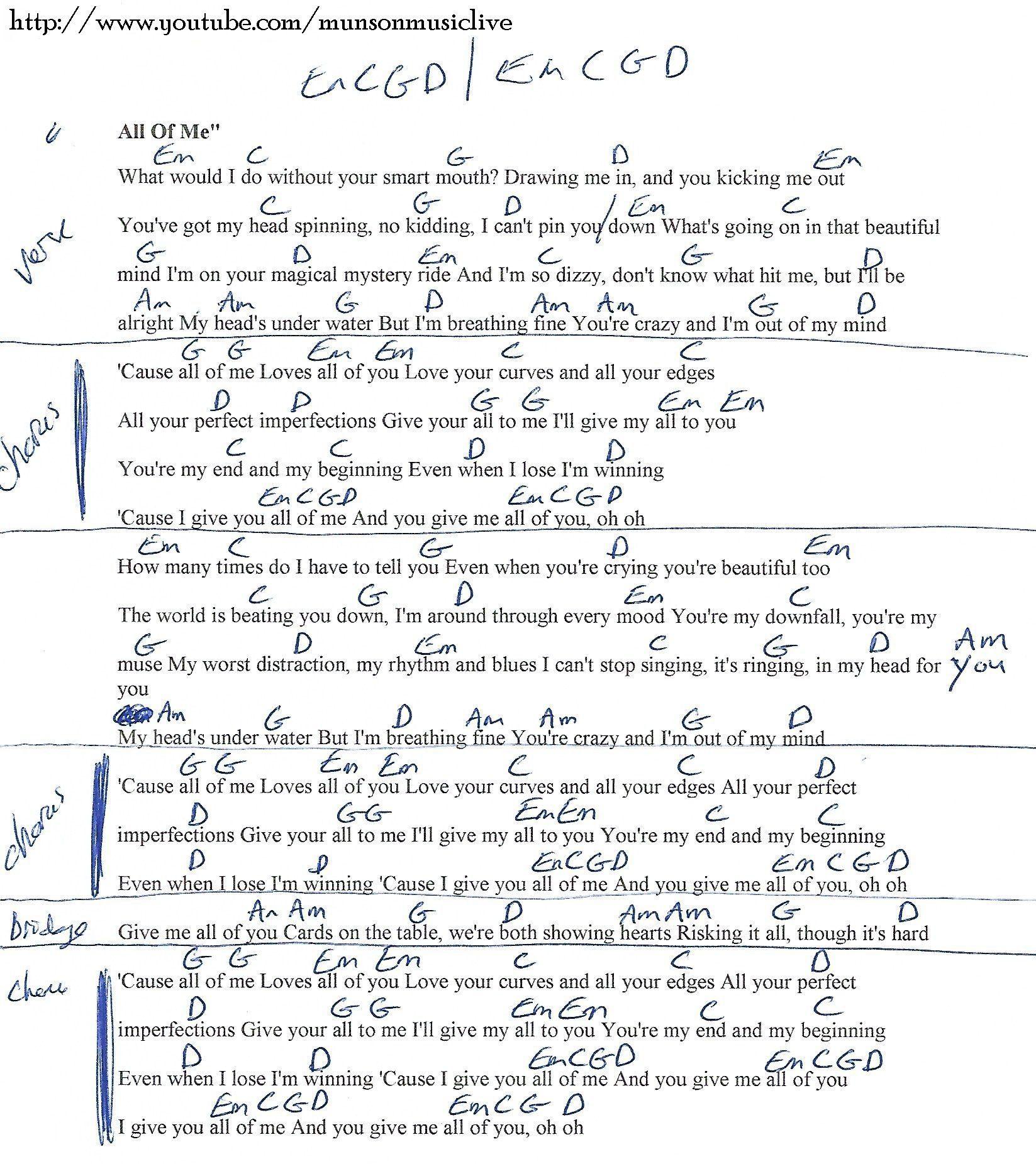 All Of Me (John Legend) Guitar Chord Chart
