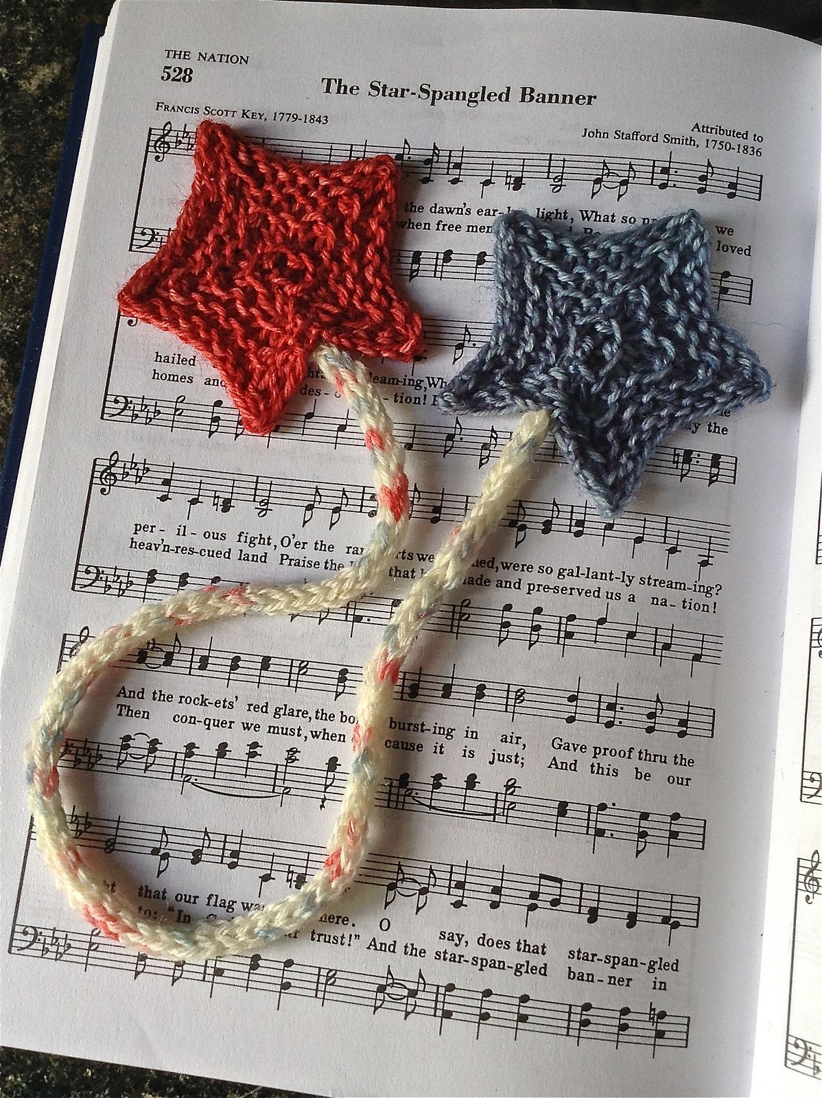 Free Knitting Pattern for Star Spangled Bookmark - Two stars knit on ...