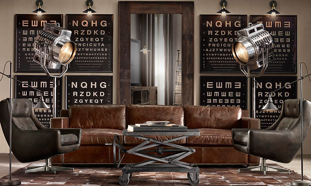 Worn Leather Couch, Spotlight Lamps, Eye Charts As Art | Restoration  Hardware