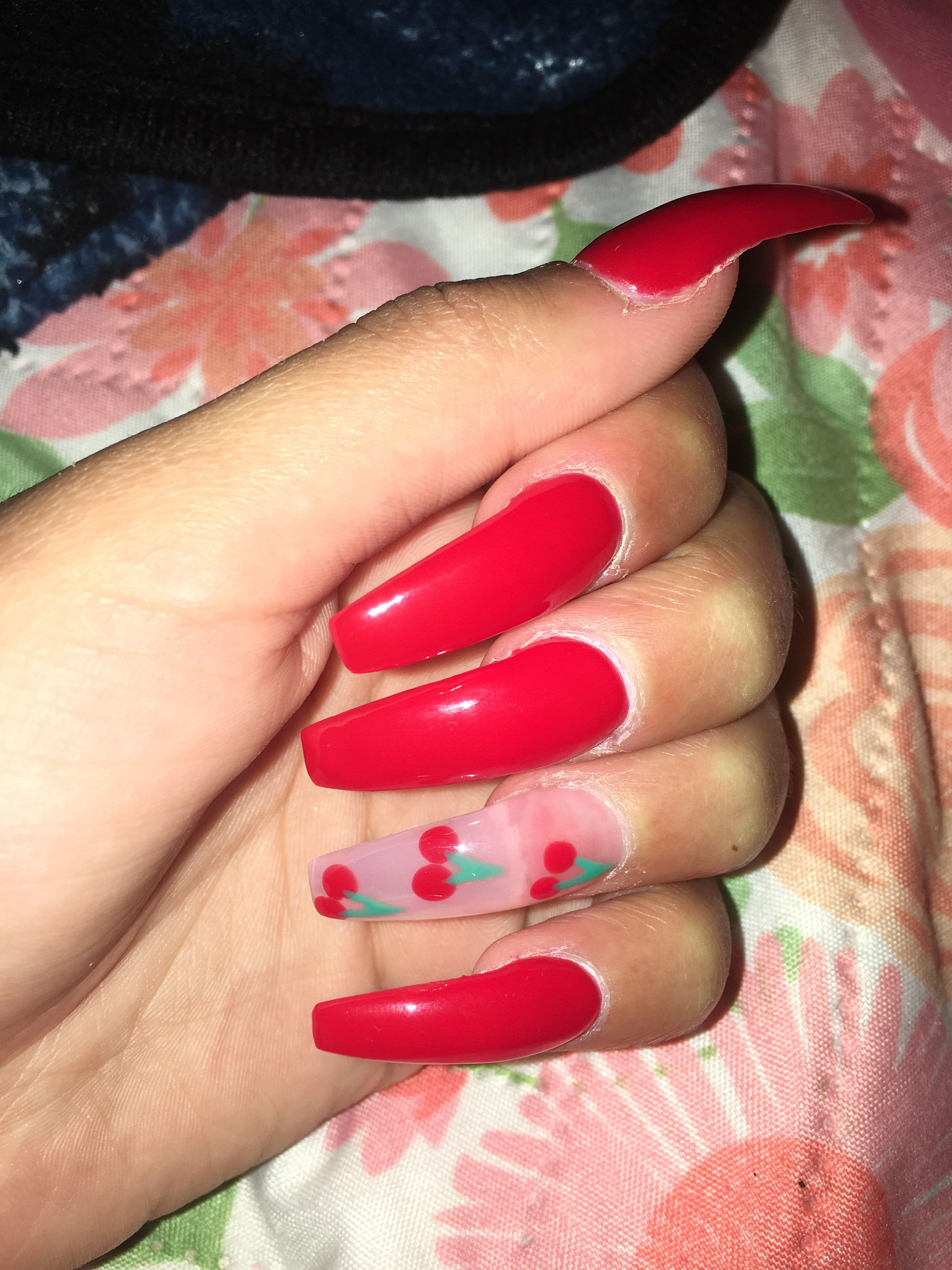 Cherry nails😍🍒   Cherry nails, Nails, Arylic nails