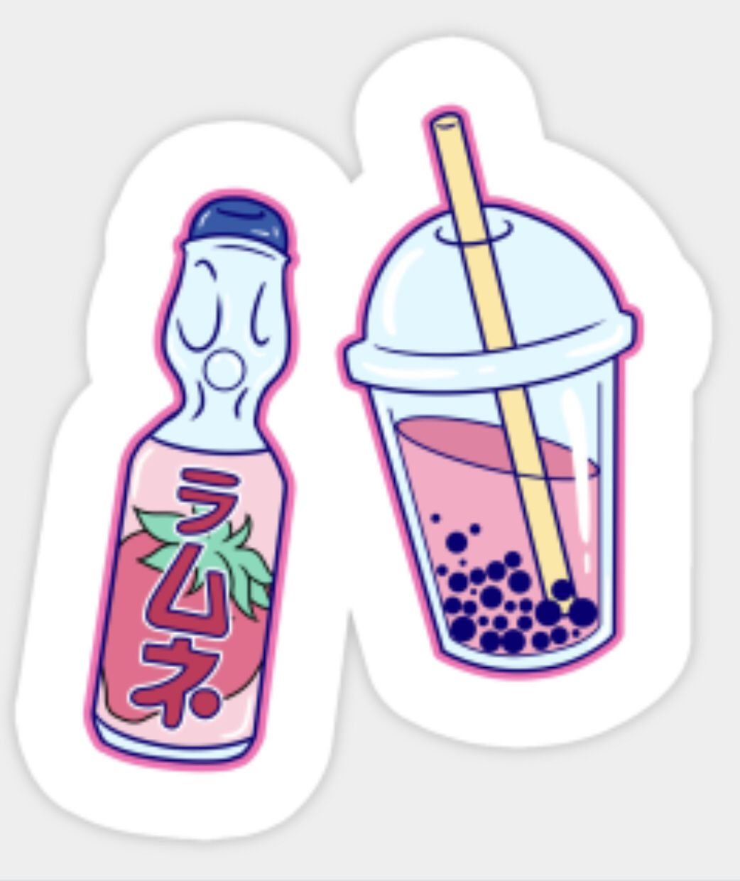 Ramune and boba tea 🍵 💞💖💗 snapchat stickers phone stickers macbook stickers