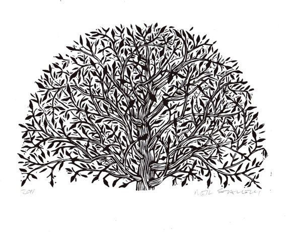 Arched Tree Linocut Art  Print by HorseAndHare on Etsy, $20.00